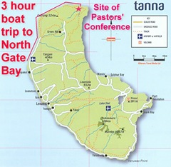 Map of Tanna showing the route of the three hour boat trip to the North Gate Bay
