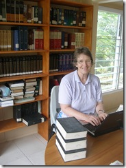 Margaret working in the library