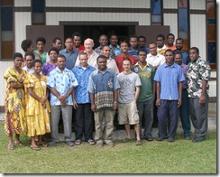 Genesis course participants with Maurice Nicholson left of center