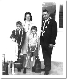 Jean Ledru with wife Simone and children Lydie, Jean-Marc et Sylvain about 1969