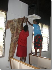 Students decorating the chapel