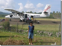 Jasmine and our plane landed at Norsup, Malekula