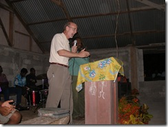 Gary preaching inside one night due to rain