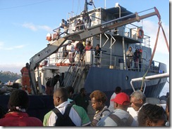 T. Uaraken cargo ship loading before sailing to Erromango